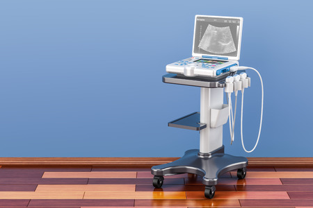 Medical Ultrasound Diagnostic Machine in room on the wooden floor, 3D rendering Archivio Fotografico