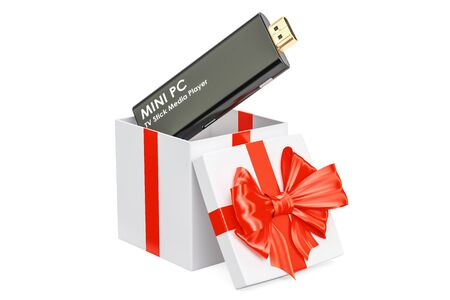 Mini PC TV Dongle Stick inside gift box, gift concept. 3D rendering isolated on white background