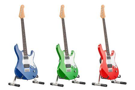 エレキギターのセット、白い背景に隔離された3Dレンダリング