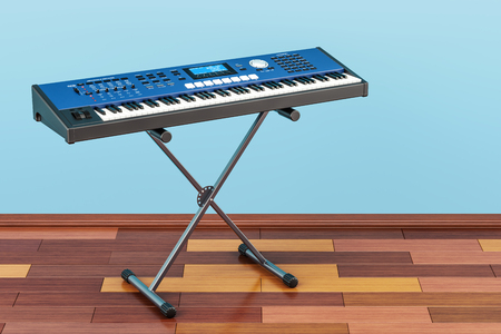Synthesizer, in room on the wooden floor, 3D rendering
