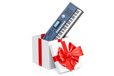 Synthesizer inside gift box, gift concept. 3D rendering isolated on white background