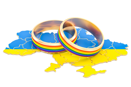 Ukrainian map with LGBT rainbow rings, 3D rendering