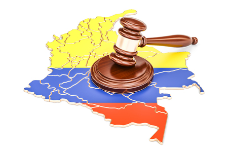 Wooden Gavel on map of Colombia, 3D rendering isolated on white background