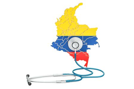 Colombian map with stethoscope, national health care concept, 3D rendering Stock Photo