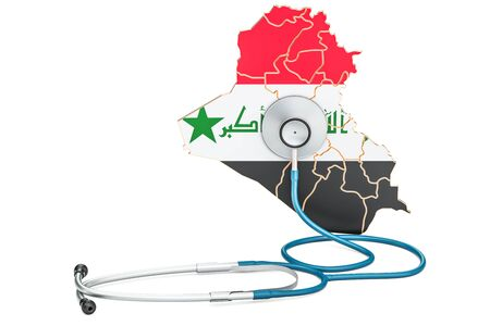 Iraqi map with stethoscope, national health care concept, 3D rendering