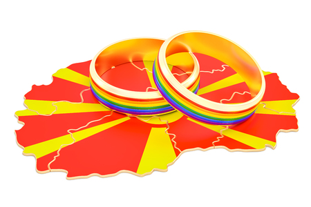 Macedonian map with LGBT rainbow rings, 3D rendering