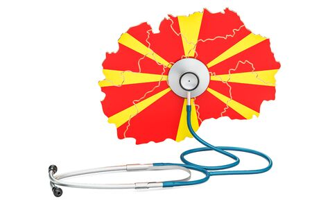 Macedonian map with stethoscope, national health care concept, 3D rendering