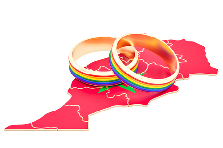 Moroccan map with LGBT rainbow rings, 3D rendering