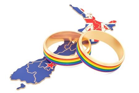 New Zealand map with LGBT rainbow rings, 3D rendering