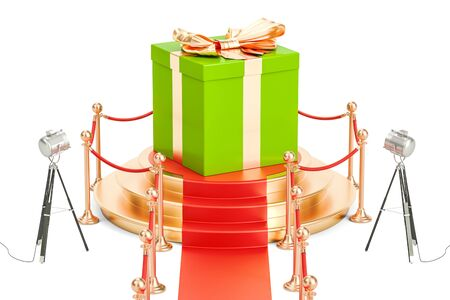 Podium with present, 3D rendering isolated on black background Stock Photo