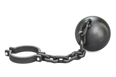 Prison shackle with chain, 3D rendering isolated on white background