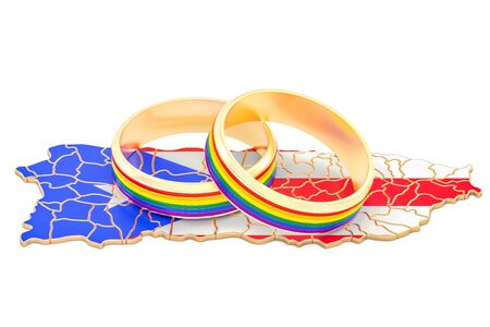 Puerto Rico map with LGBT rainbow rings, 3D rendering