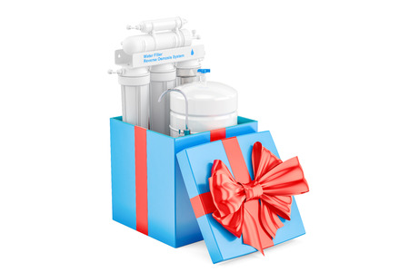 Reverse osmosis system inside gift box, gift concept. 3D rendering