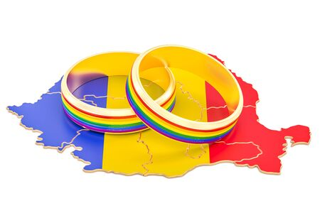 Romanian map with LGBT rainbow rings, 3D rendering