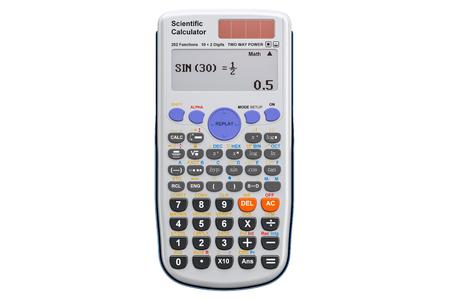 Wissenschaftlicher Taschenrechner, Wiedergabe 3D lokalisiert auf weißem Hintergrund Standard-Bild - 91237041
