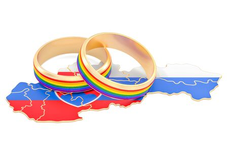 Slovak map with LGBT rainbow rings, 3D rendering