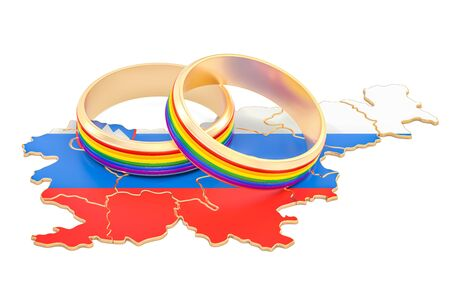 Slovenian map with LGBT rainbow rings, 3D rendering