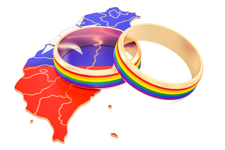 Thai map with LGBT rainbow rings, 3D rendering Stock Photo