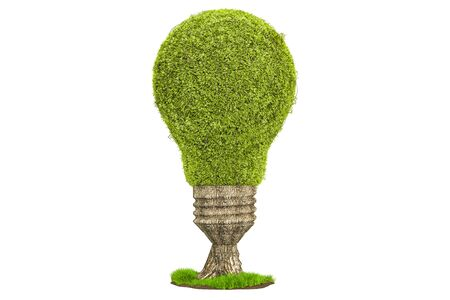 Tree shaped as light bulb, renewable energy concept. 3D rendering