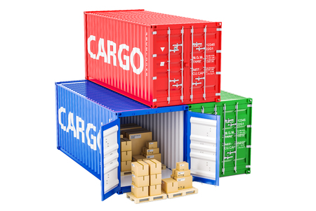 Cargo shipping and delivery concept. Cargo containers with parcels, 3D rendering
