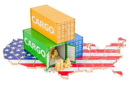 Cargo Shipping and Delivery from USA isolated on white background Stock Photo