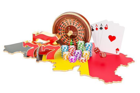 Casino and gambling industry in the Belgium concept, 3D rendering isolated on white background