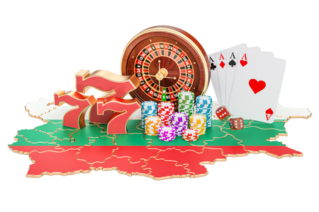Casino and gambling industry in the Bulgaria concept, 3D rendering isolated on white background