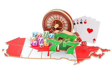 Casino and gambling industry in the Canada concept, 3D rendering isolated on white background Stock Photo