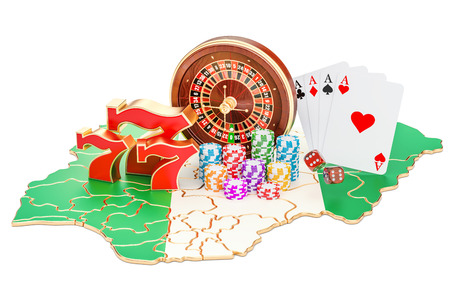 Casino and gambling industry in the Nigeria concept, 3D rendering isolated on white background