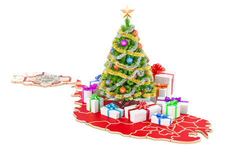 Christmas and New Year holidays in Malta concept. 3D rendering isolated on white background