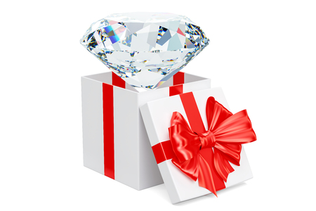 Diamond inside gift box, gift concept. 3D rendering isolated on white background Stock Photo