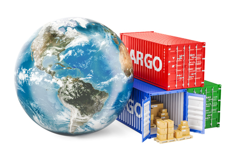 Global cargo shipping and delivery concept. Earth Globe with cargo containers, 3D rendering Stock Photo