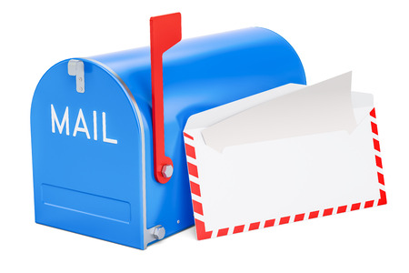 Mailbox with opened envelope and letter inside, 3D rendering