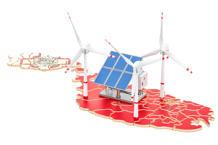 Renewable energy and sustainable development in Malta, concept. 3D rendering isolated on white background Stock Photo