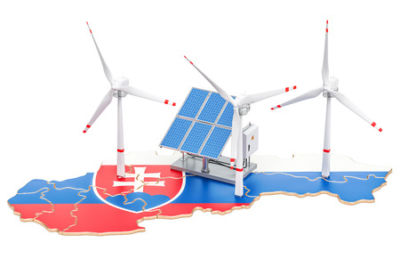 Renewable energy and sustainable development in Slovakia, concept. 3D rendering isolated on white background