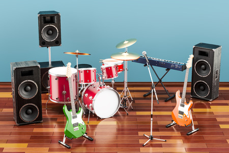 Set of different musical instruments and equipment in room on the wooden floor, 3D rendering Stock Photo