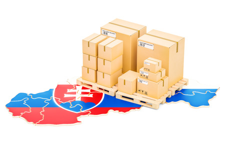 Shipping and Delivery from Slovakia isolated on white background Stock Photo
