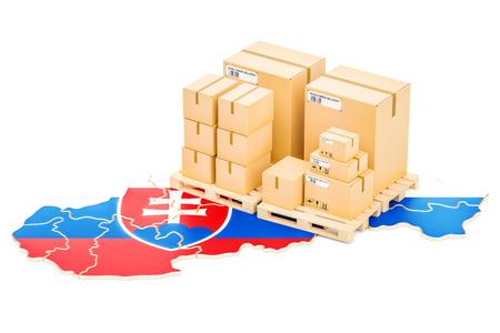Verzending en levering vanuit Slowakije op een witte achtergrond Stockfoto