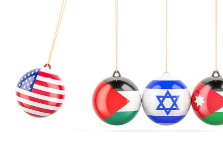 USA political conflict with Palestine, Israel and Jordan concept. 3D rendering Stock Photo