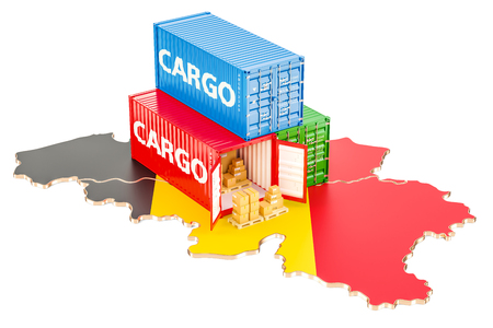 Cargo Shipping and Delivery from Belgium isolated on white background Stock Photo