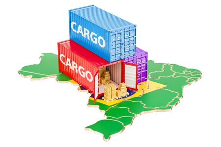 Cargo Shipping and Delivery from Brazil isolated on white background