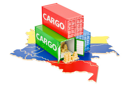 Cargo Shipping and Delivery from Colombia isolated on white background