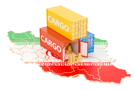 Cargo Shipping and Delivery from Iran isolated on white background Stock Photo