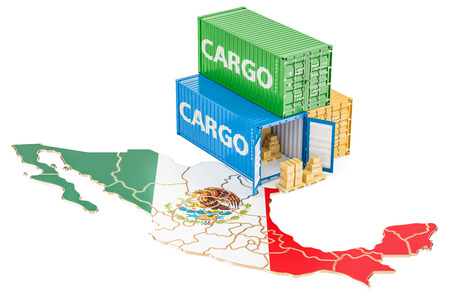 Cargo Shipping and Delivery from Mexico isolated on white background