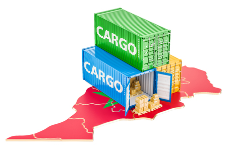 Cargo Shipping and Delivery from Morocco isolated on white background