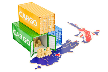 Cargo Shipping and Delivery from New Zealand isolated on white background