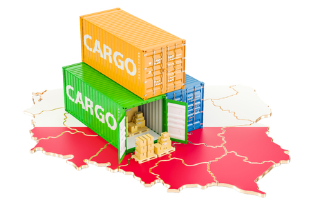 Cargo Shipping and Delivery from Poland isolated on white background Stock Photo