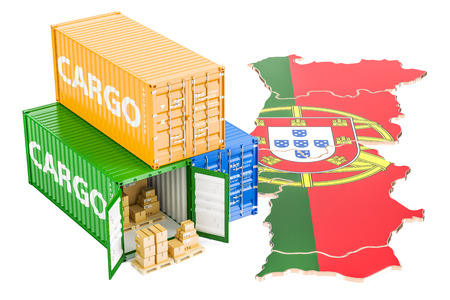 Cargo Shipping and Delivery from Portugal isolated on white background 版權商用圖片
