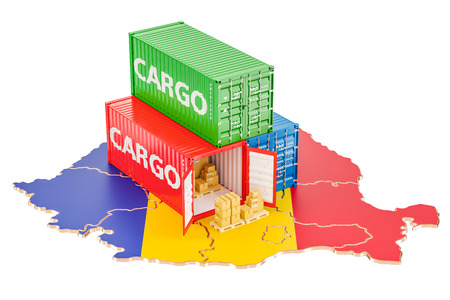 Cargo Shipping and Delivery from Romania isolated on white background