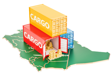 Cargo Shipping and Delivery from Saudi Arabia isolated on white background